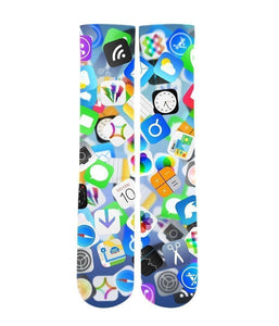 iPhone app Emoji mash up Elite printed crew socks - DopeSoxOfficial