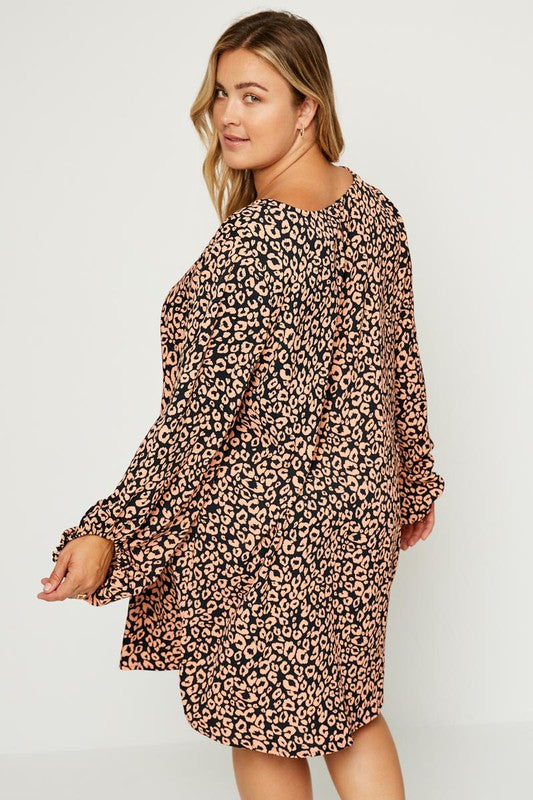 HP Leopard Puff Sleeve Dress