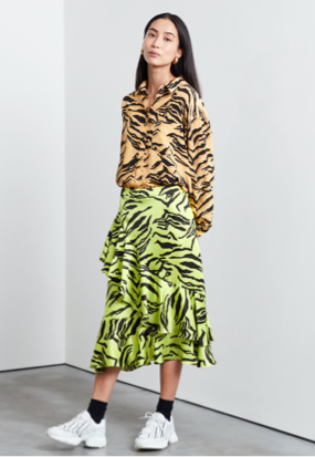 Cressida Frill Wrap Mini Skirt with Tie Detail Tiger Print