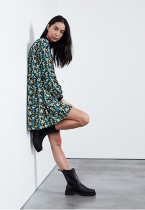 Cecilie Shirt Dress with Frill Tier Hem Tiger Print
