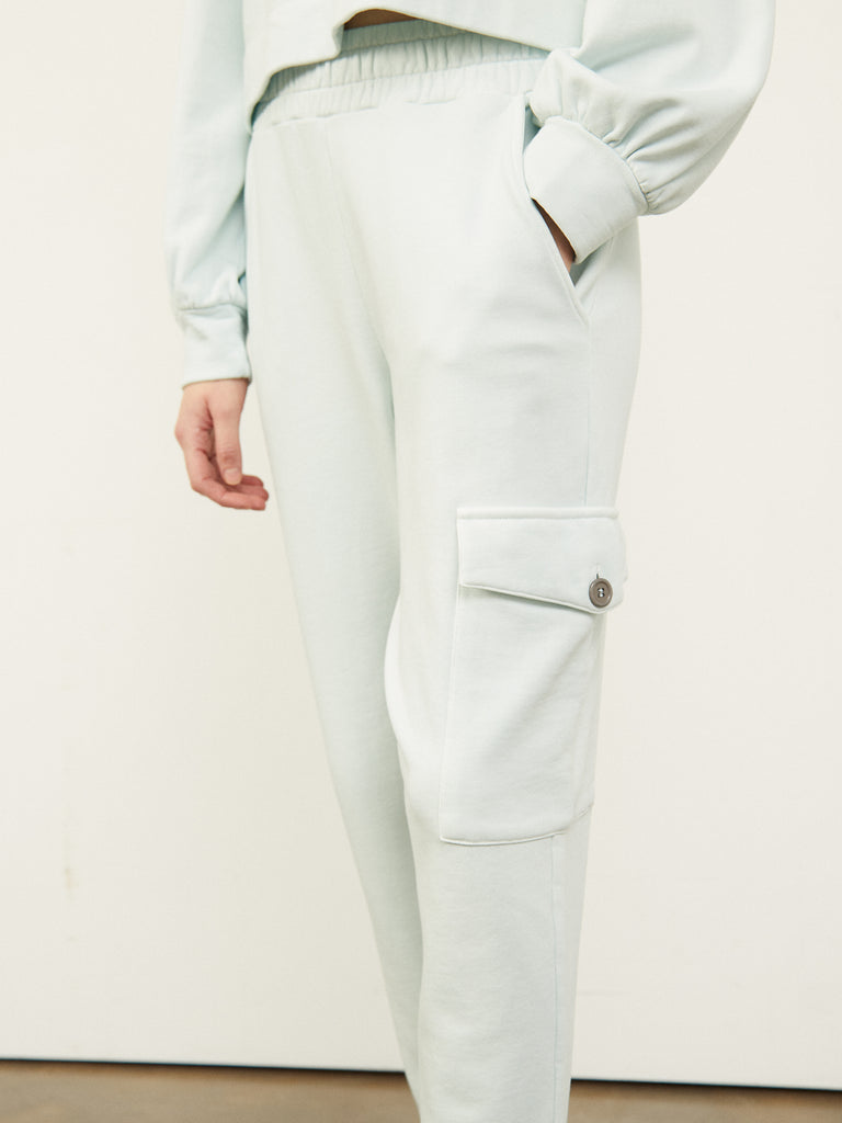 Beda Sweatpants with Patch Pocket in Pale Water