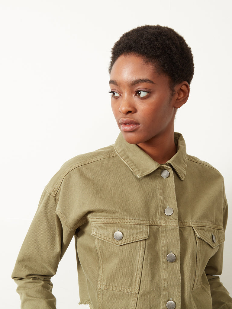 Catrina Cropped Denim Jacket Khaki