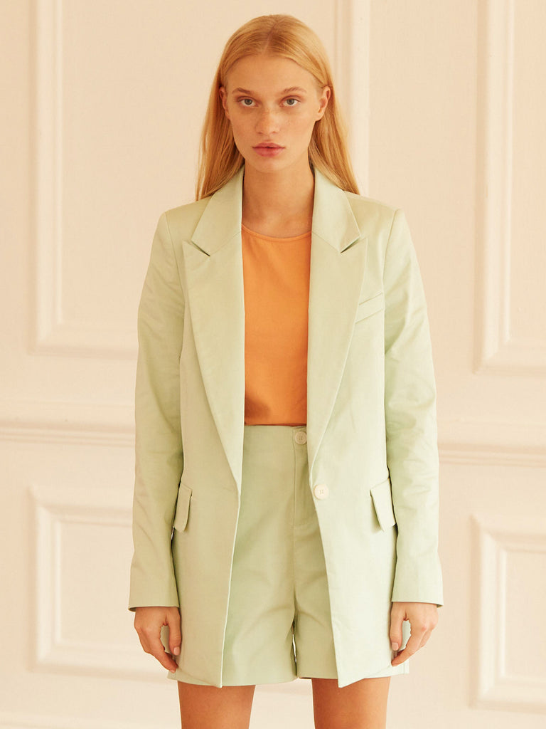 Celine Tailored Single Breasted Blazer Icy Mint