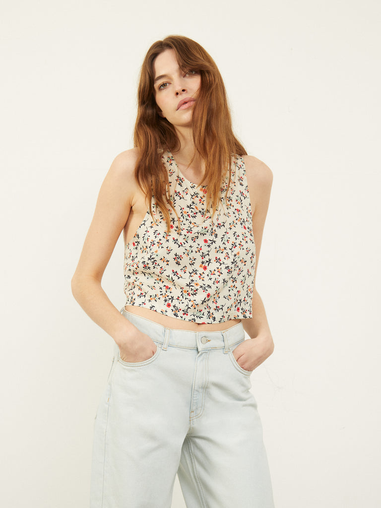 Dani D Open Cross Back Top in Floral Ditsy