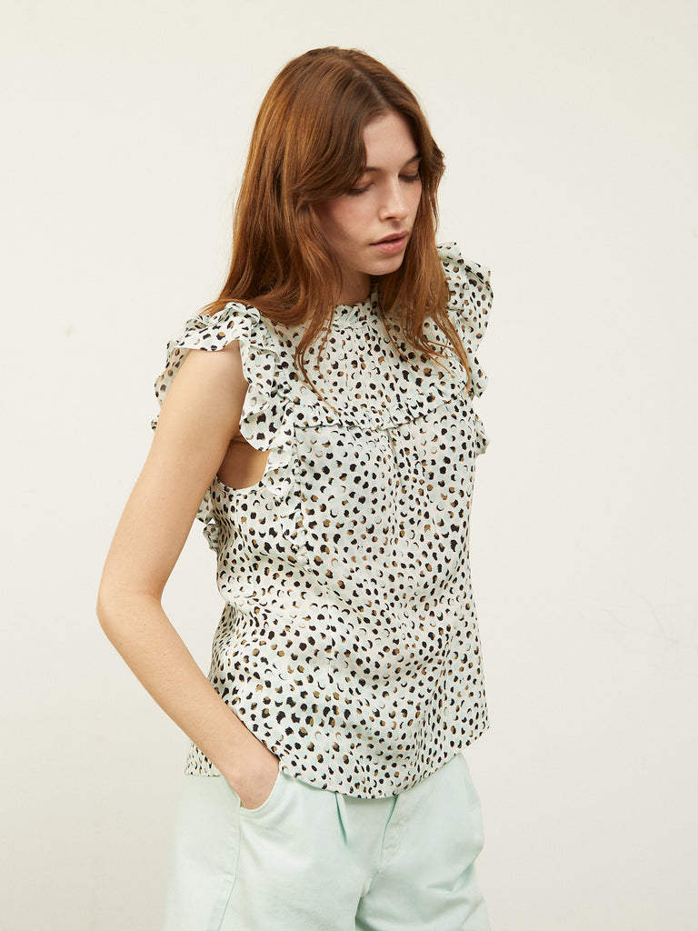 Drew High Neck Loose Top in Blue Spot