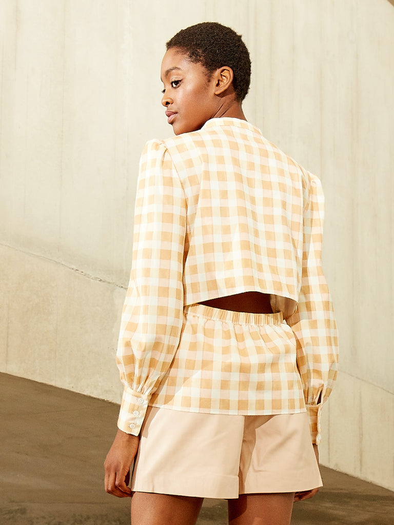 CORINNE Button Down Shirt with Open Back Detail Gingham Print