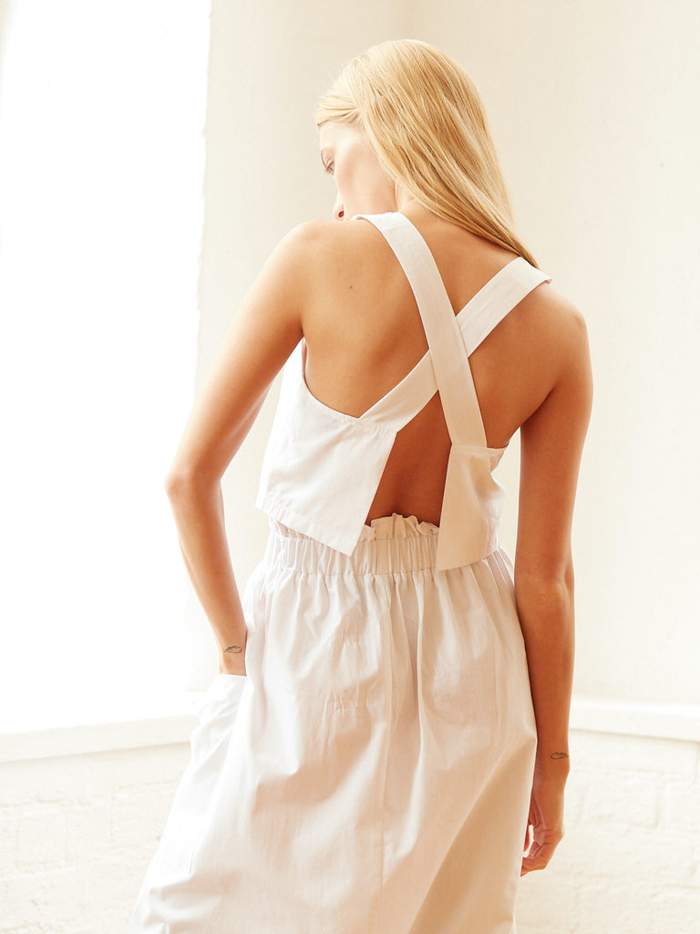 Dani Open Cross Back Top in White