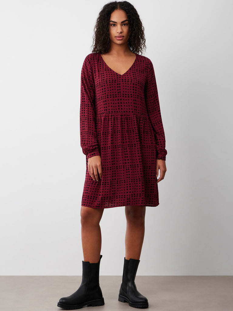 Abbie Smock Dress Wine Check