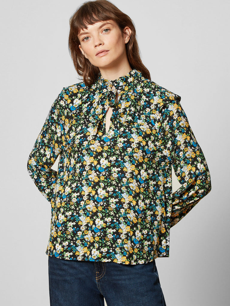 Alice Floral Tie Neck Blouse