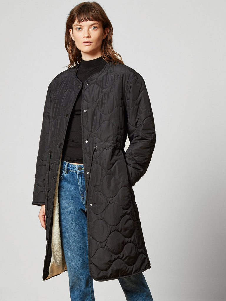 Ariana Quilted Reversible Liner Coat Black