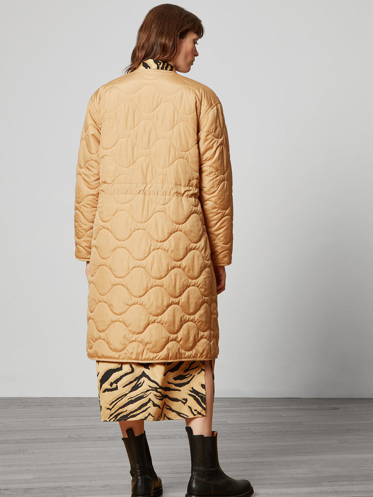 Ariana Quilted Reversible Liner Coat Camel