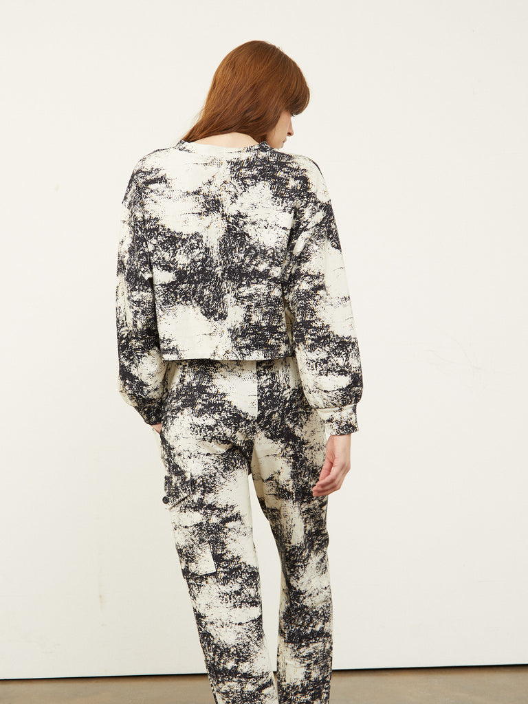 Beda M  Sweatpants With Patch Marble Print
