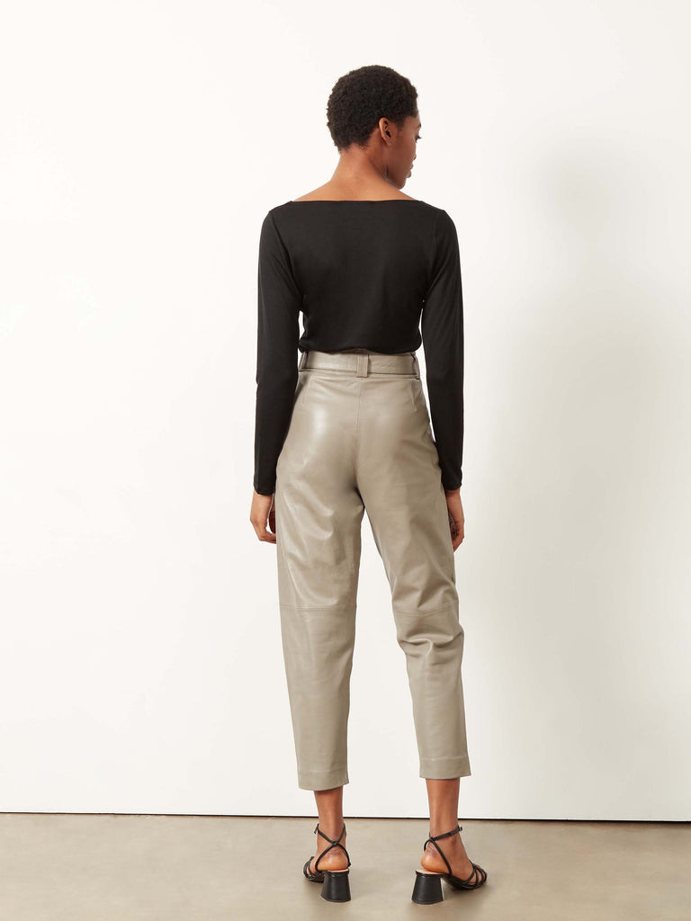 Belinda Leather Trousers Dove