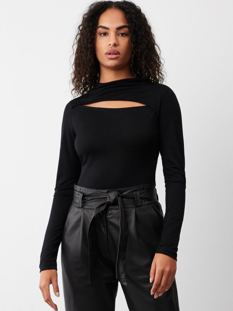 Bryn Slash Roll Neck Jersey Top
