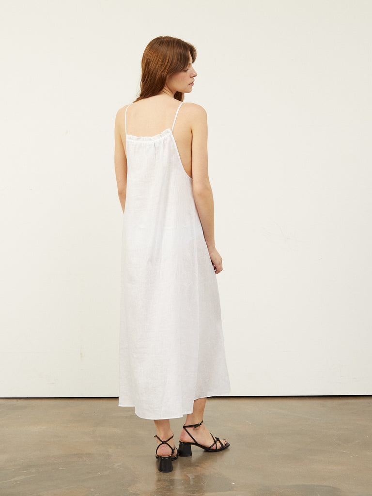 Calonie Halter neck Voluminous Midi Dress White