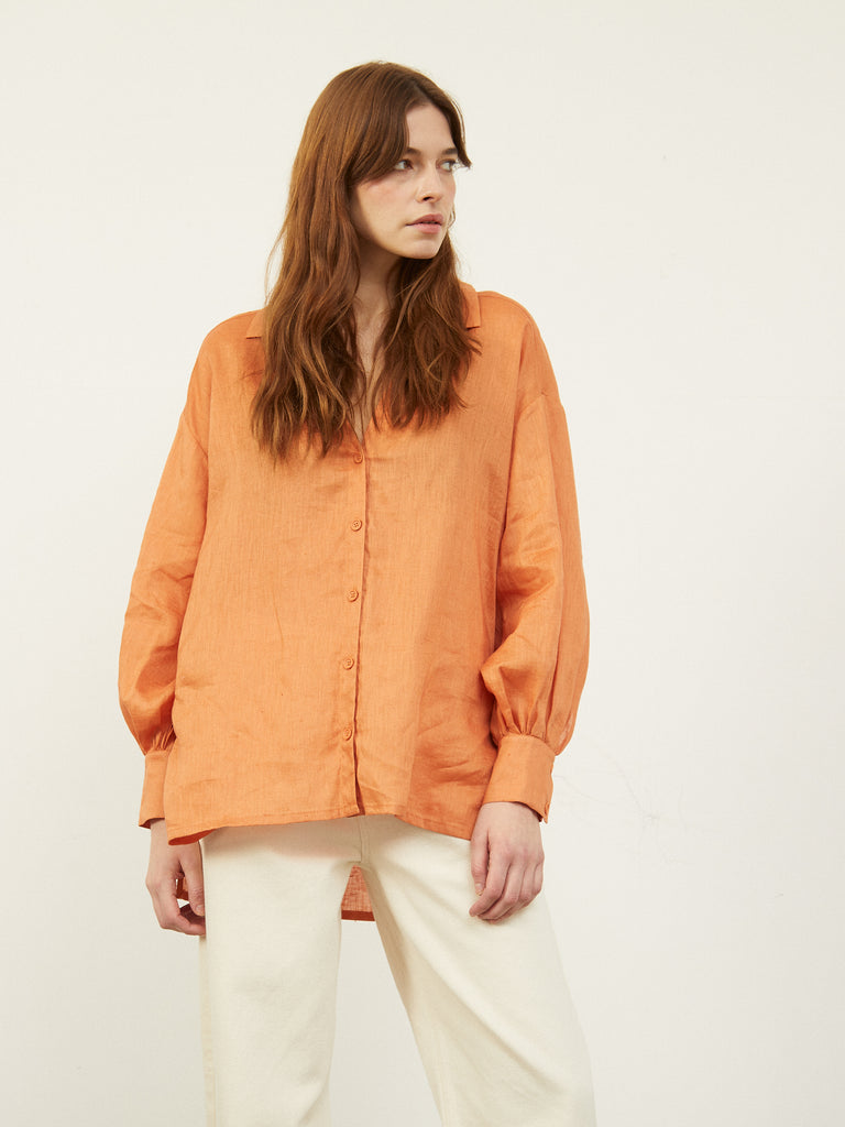 Charity Oversized Side Split Drop Hem Shirt Terracotta