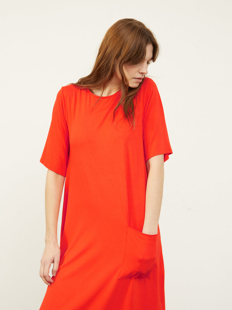 Cenni T-Shirt Midi Dress Red