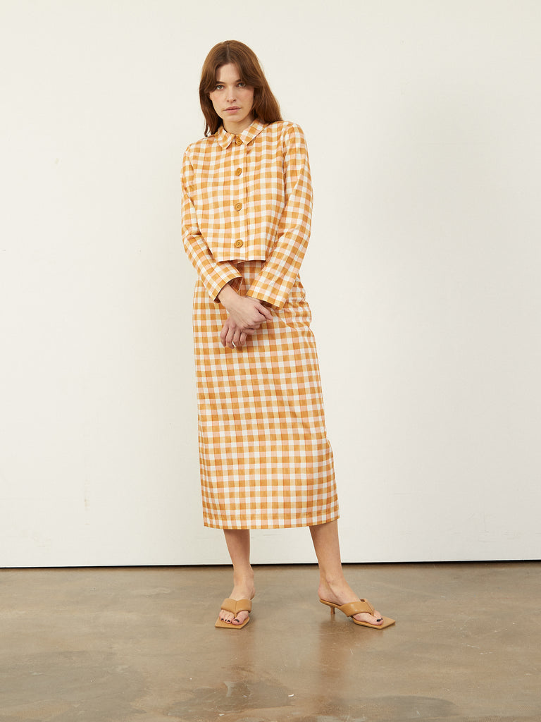 CABRINI G Tailored Pencil Skirt Gingham Print
