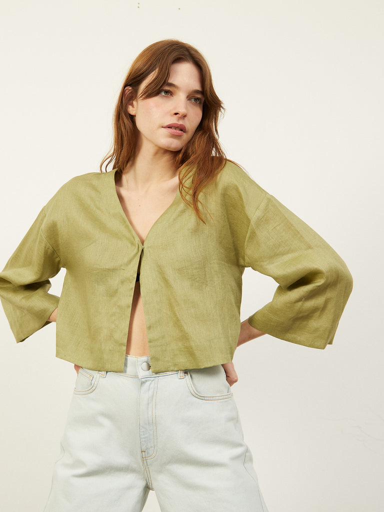 Cinder Cropped Light Linen Jacket Khaki