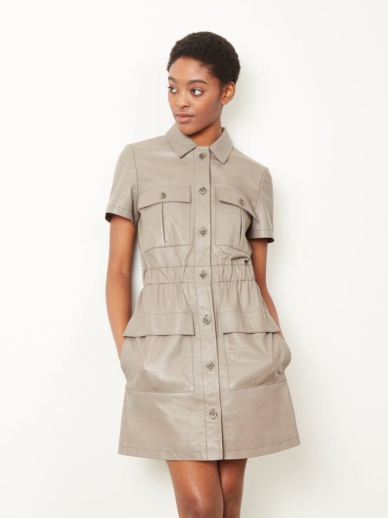 Caledonia Leather Shirt Dress Dove