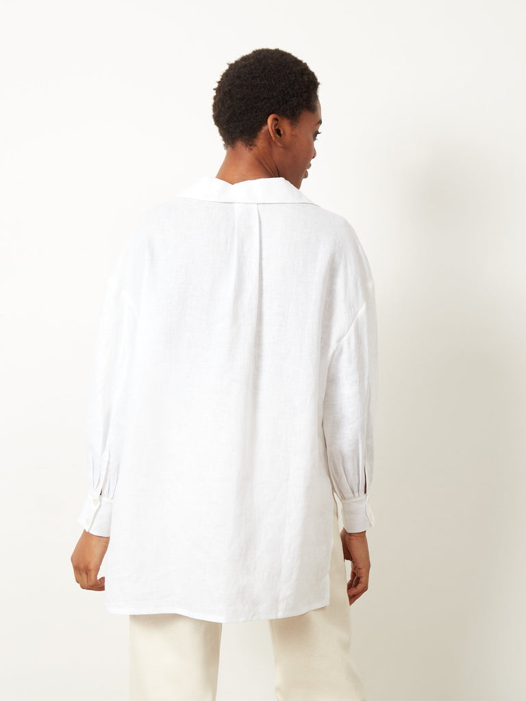 Charity Oversized Side Split Drop Hem Shirt White