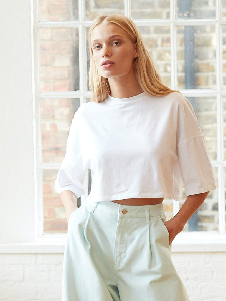 Crosby Cropped Boxy T-Shirt in White