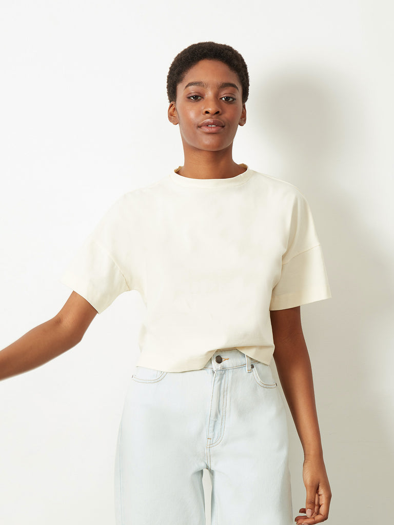 Crosby Cropped Boxy T-Shirt Ecru