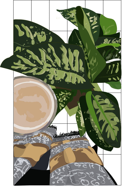 Coffee and Greens Plants and Music