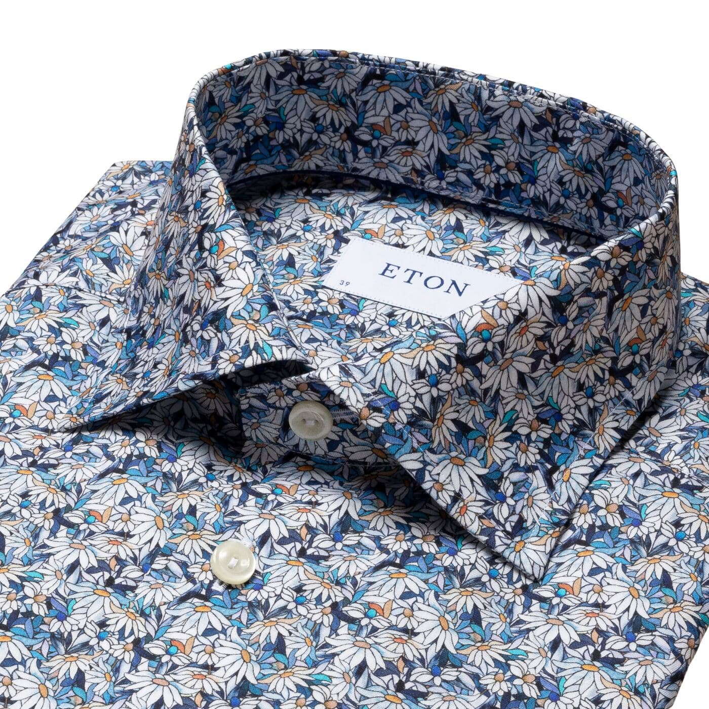Eton Blue Stained Floral Signature Twill Shirt