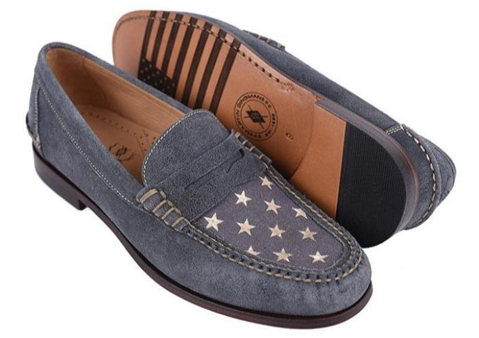 Martin Dingman All-American Distressed Water-Repellent Suede Penny - Blueberry/American