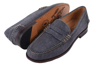 Martin Dingman All-American Distressed Water-Repellent Suede Penny - Blueberry