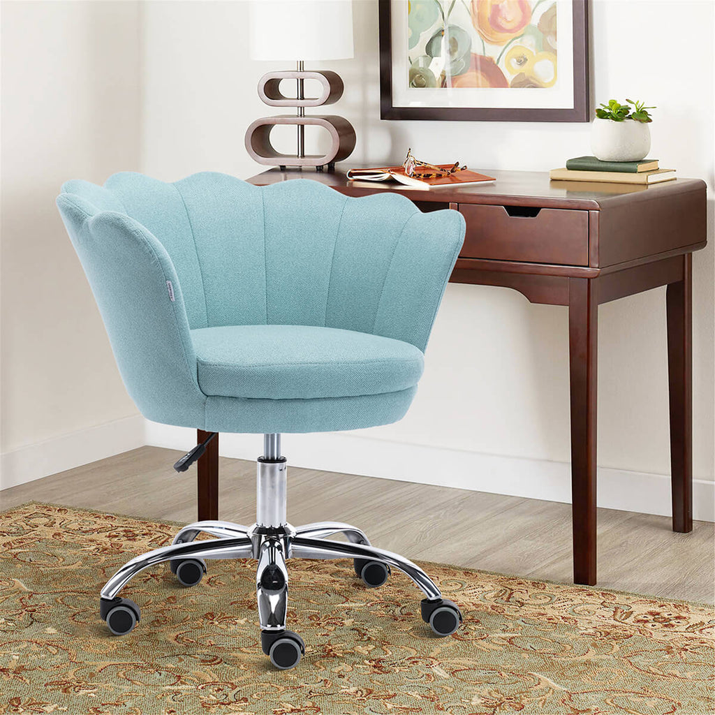 Modern Home Office Chair, Cute Velvet Upholstered Shell Chair Adjustable Swivel Vanity Chair for Women, Mint Green