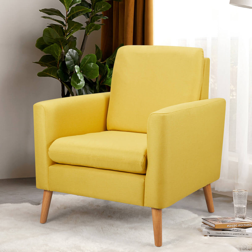 Modern Accent Fabric Chair Single Sofa Comfy Upholstered Arm Chair Living Room Furniture Mustard, Yellow
