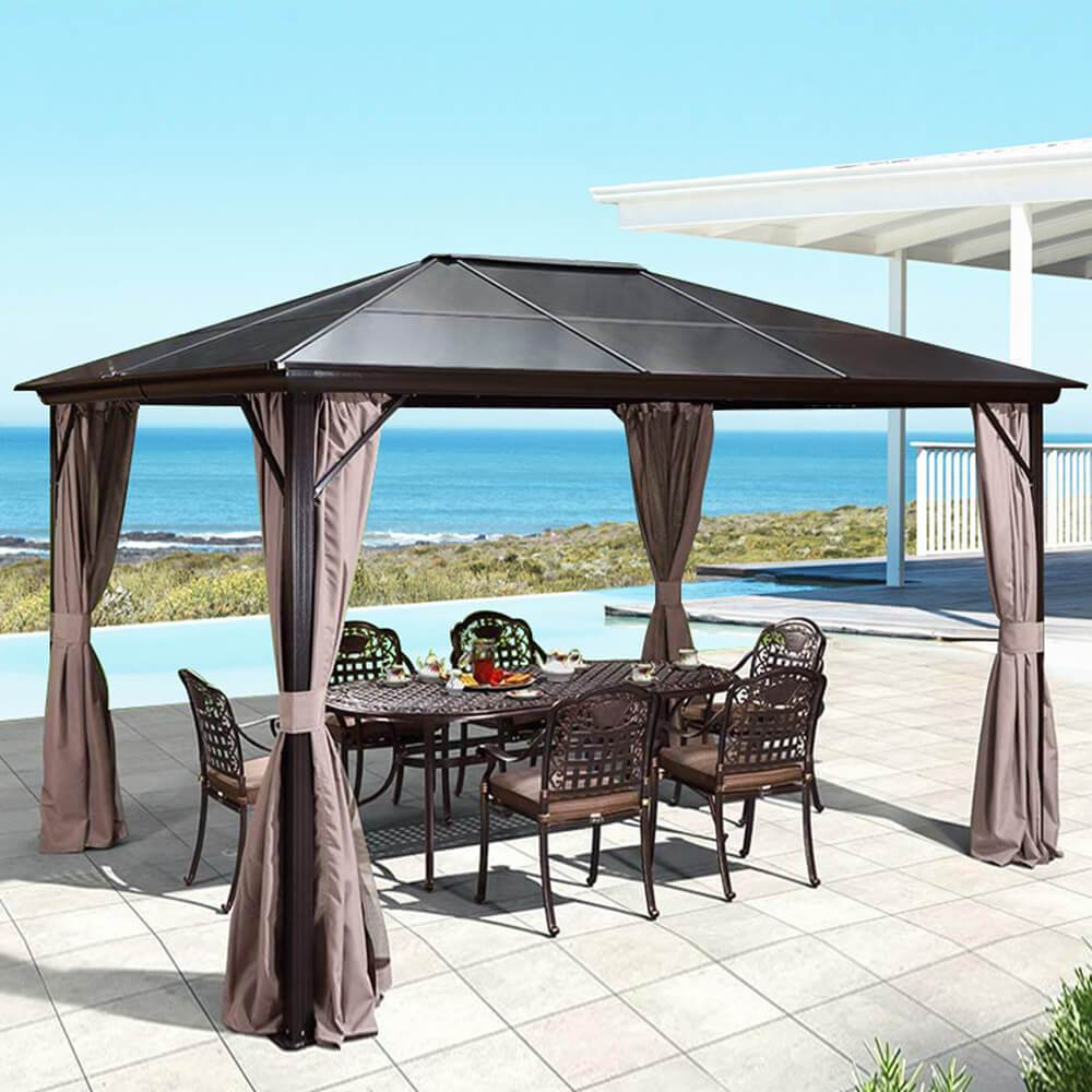 10'x12' Patio Hardtop Gazebo Aluminum Frame Gazebos with Netting & Curtain