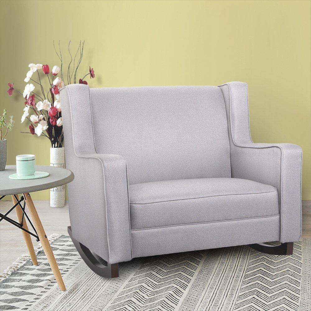 Esright Upholstered Rocking Chair Padded Seat Fabric Rocker for Nursery, Comfortable Relax Glider, Grey