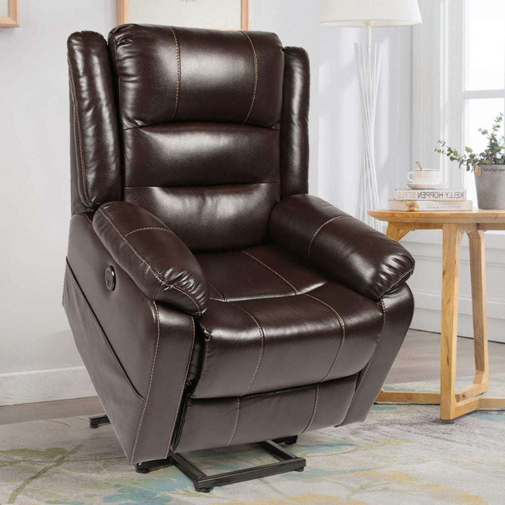 Esright Power Lift Reclienr Faux Leather Electric Lift Recliner Chair for Elderly, Heated Vibration Massage Recliner with Side Pockets, USB Charge Port & Remote Control, Dark Brown