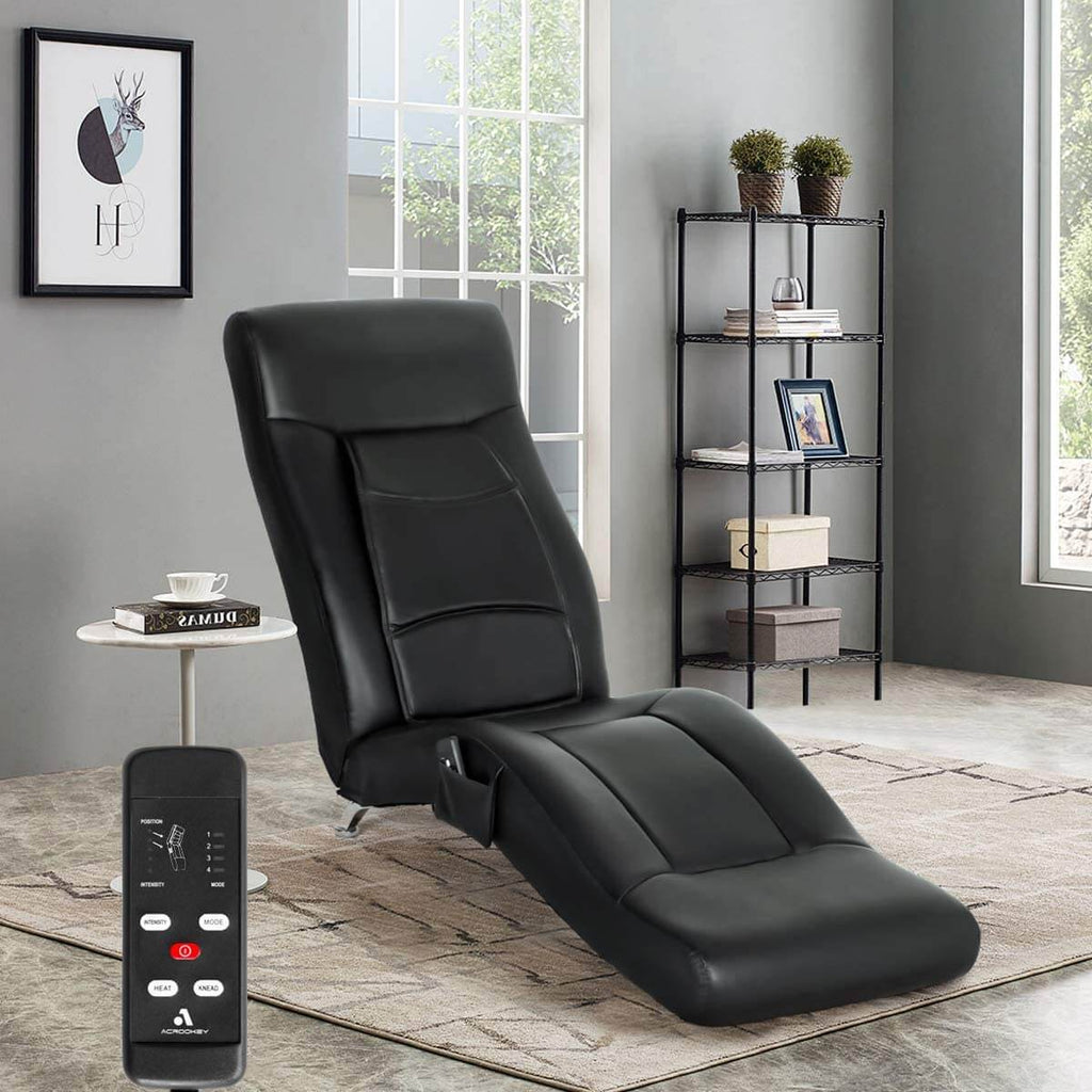 Massage Chaise Lounge Chair, Indoor Chaise Chair for Bedroom, Living Room with Vibration Heat Fuction, New Black