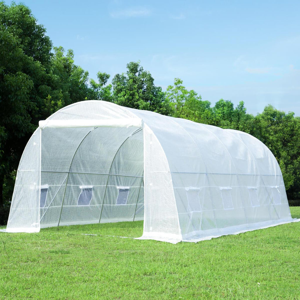 20'x10'x7' Tunnel Greenhouse, White