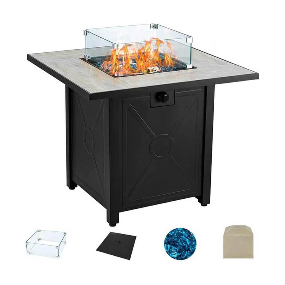 30'' Propane Gas Fire Pit Table 50000 BTU with Cover, Windguard, Glass Beads