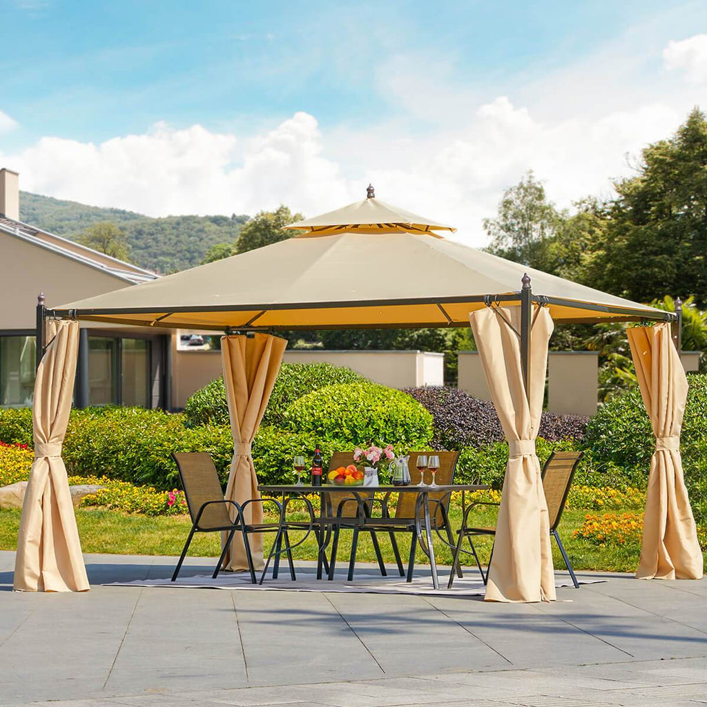 10'x12' Double-Roof Gazebo Canopy Patio Steel Frame with Curtains, Beige