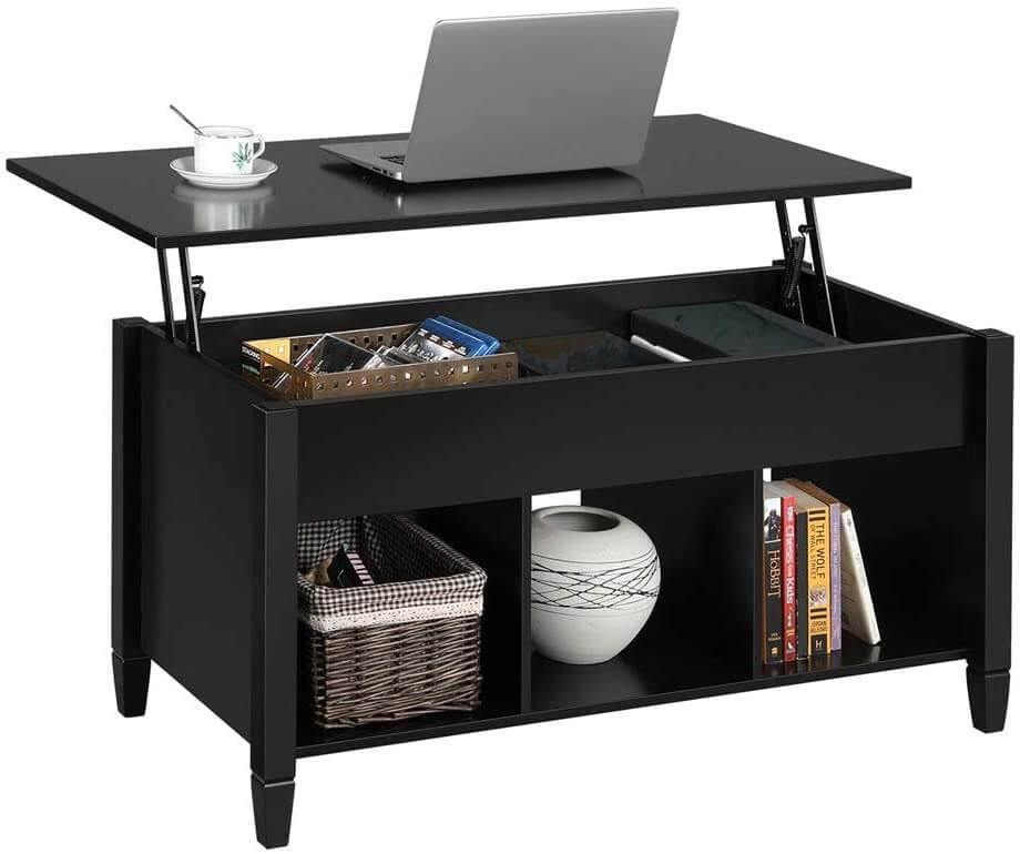 Lift Tabletop Coffee Tables Wood Living Room Furniture Hidden Compartment, Black
