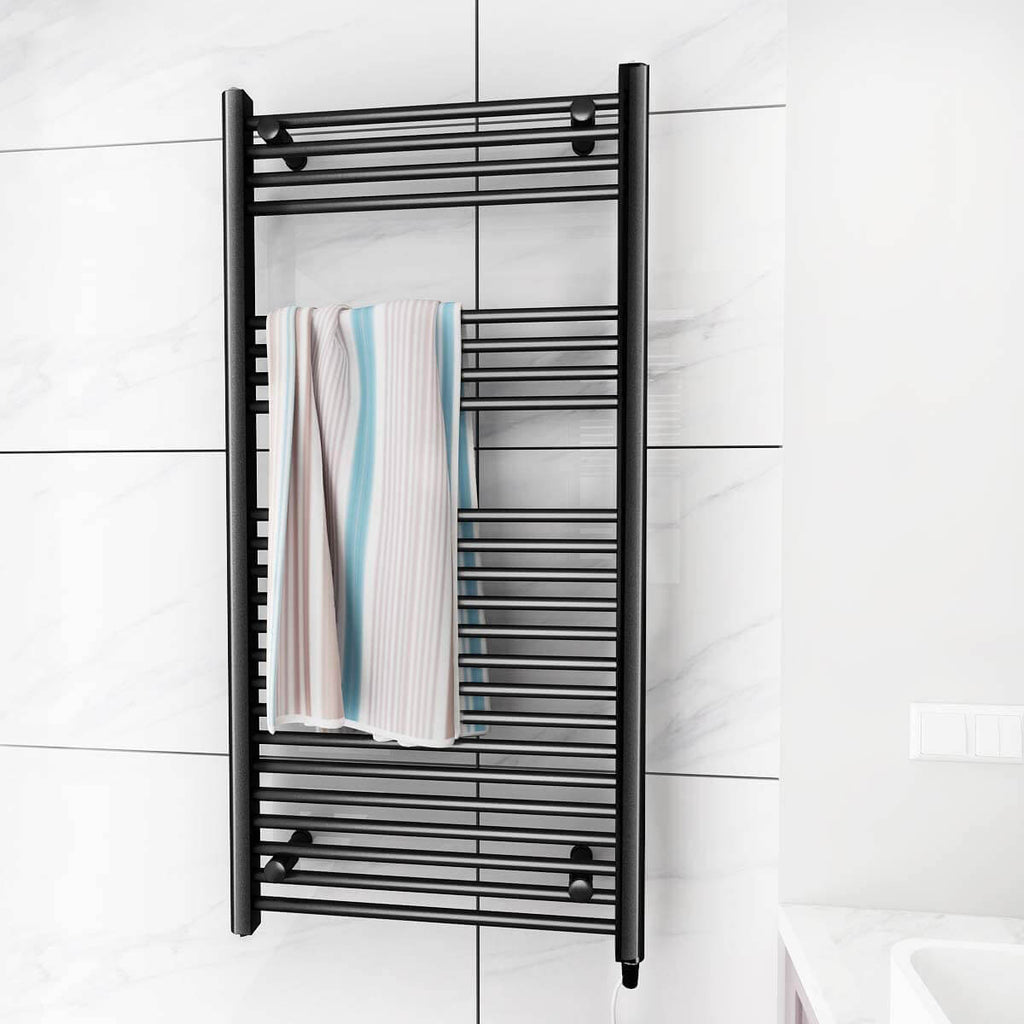 Towel Warmer Rack, Steel Heated Drying Rack Plug-in Wall Mounted Towel Warmer Rack for Bathroom (Black, 23 Bar)