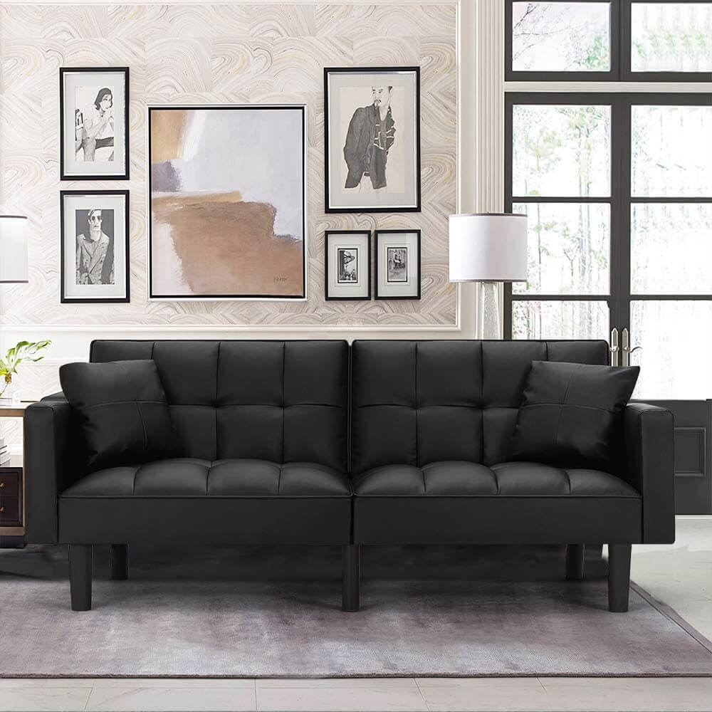 Modern Leather Convertible Futon Sofa Bed Folding Couch Recliner Adjustable Back with Arm Set for Living Room, Black