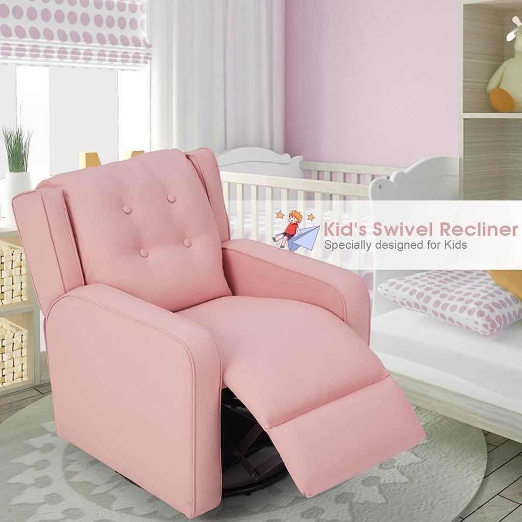 Esright Kid's Swivel Recliner Chair, Children Recliner Faux Leather Armchair for Toddler Boys Girls, Lightweight 360 Degree Swivel Sofa Chair, Pink