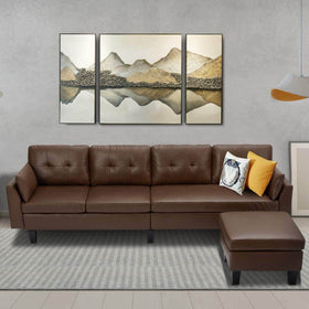 4-Seat Esright Sectional Convertible Brown Faux Leather Reversible L-Shape Couch