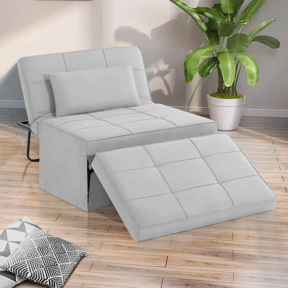 Sofa Bed, Convertible Chair 4 in 1 Multi-Function Folding Ottoman Modern Breathable Linen Guest Bed with Adjustable Sleeper for Small Room Apartment, Light Gray