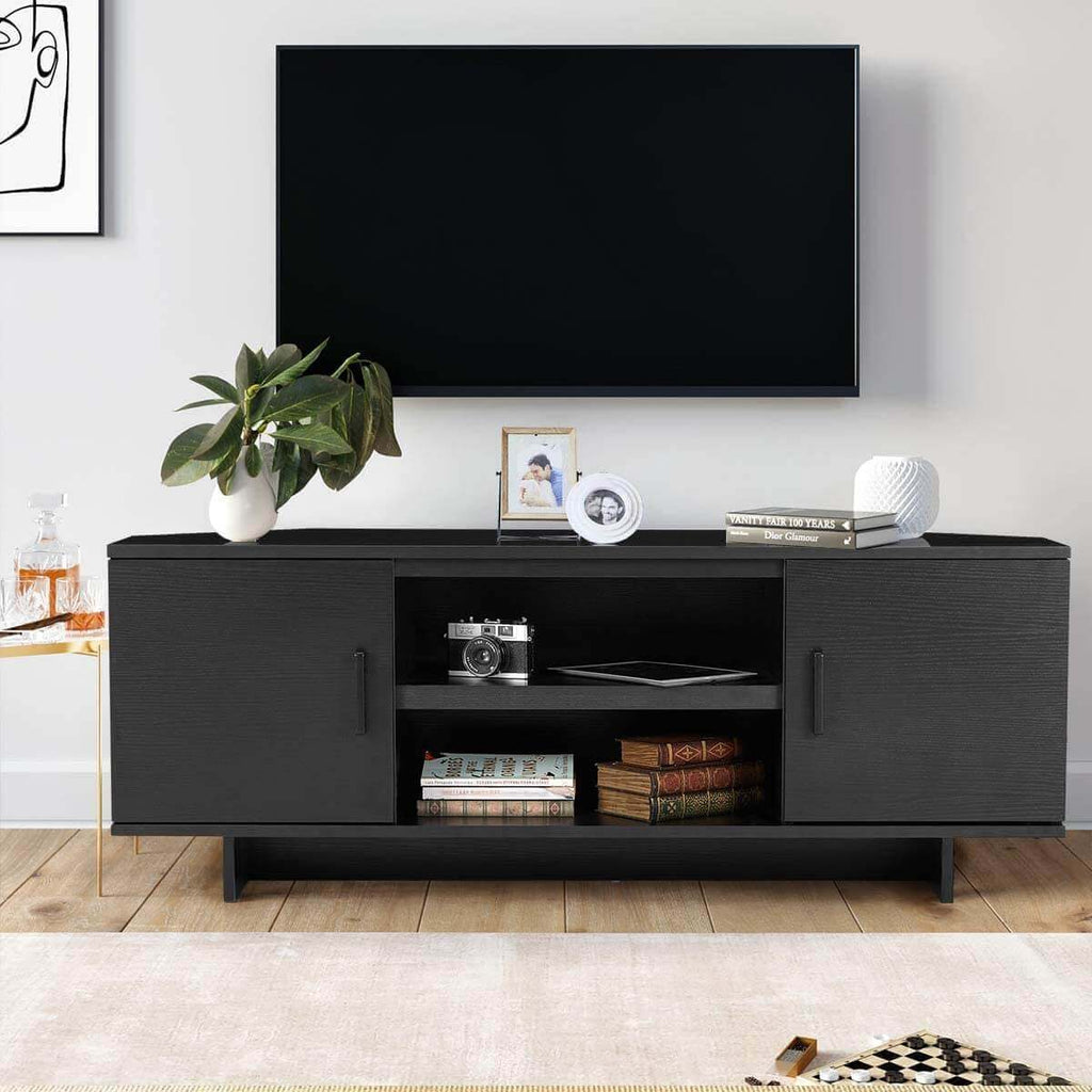 Minimal TV Stand with 2 Doors and Shelves, Classical Design TV Cabinet for TV, 48'' Media Console Table (Black)