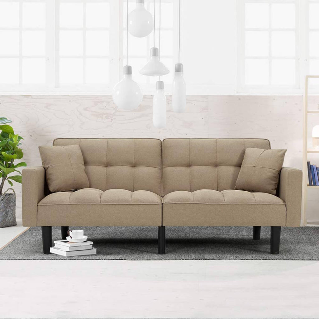 Modern Linen Convertible Futon Sofa Bed Folding Couch Recliner Adjustable Back with Arm Set for Living Room, Beige