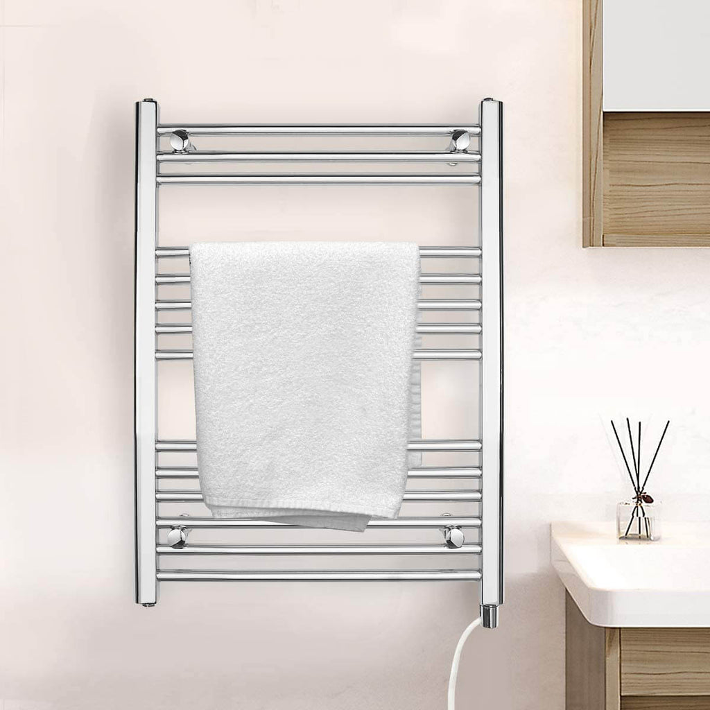 Towel Warmer Rack, Steel Heated Drying Rack Plug-in Wall Mounted Towel Warmer Rack for Bathroom (Silver, 14 Bar)