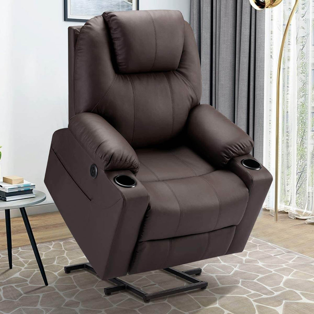 Esright Electric Power Recliner Lift Chair Faux Leather Electric Recliner for Elderly, Heated Vibration Massage Sofa with Side Pockets, USB Charge Port & Remote Control, Dark Brown